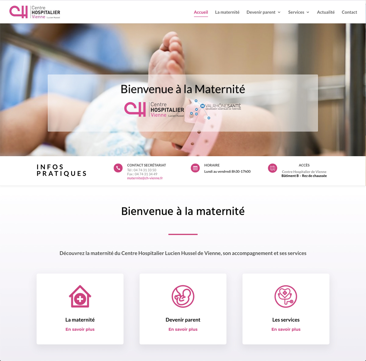 maternite ch vienne webdesign 1 - Web at Heart, agence digitale à Lyon