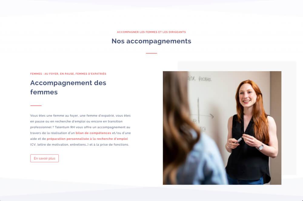 Talentum RH - accompagnement des femmes design de Web at heart