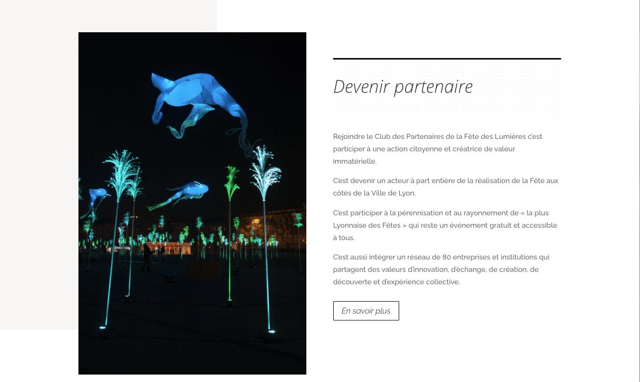 Design du site du club de la fête des lumières de Lyon par Web at Heart agnce web à Lyon